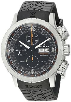 Edox Men's 01118 3 NO Chronorally 1 Analog Display Swiss Automatic Black Watch Edox
