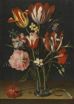 Still life of tulips, carnations, a rose in a glass beaker. Jacob Van Hulsdonck, Flemish Baroque still life painter. Art Floral, Botanical Illustration, Botanical Art, Flower Of Life, Flower Art, Rose In A Glass, Dutch Still Life, Digital Museum, Dutch Painters
