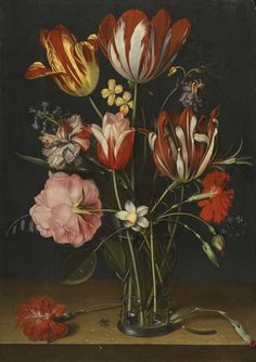 Jacob Van Hulsdonck (Antwerp 1582 – 1647), Still life of tulips, carnations, a rose and other flowers in a glass beaker.