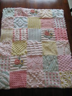 Vintage Chenille Patchwork Lovey/Doll/Pet Quilt  by CuddlyComforts