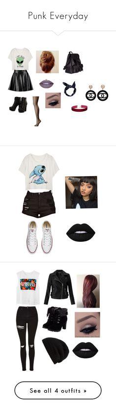 """""""Punk Everyday"""" by ebonyadelle2 on Polyvore featuring Boohoo, Wolford, Jeffree Star, Yves Saint Laurent, Miss Selfridge, Chanel, Converse, Lime Crime, Topshop and Rick Owens"""