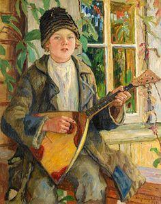Boy with balalaika 1930 oil on canvas 90.5x70.5  Bogdanov-Belsky Nikolay