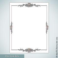 Vintage French Page Borders Classic Frames Black 8x11 Rectangle Digital Ornate Frame Decorative Retro Borders Design Vector Eps 10157 VE #VintageClipArt #DecorativeBorders #8x11pageFrames
