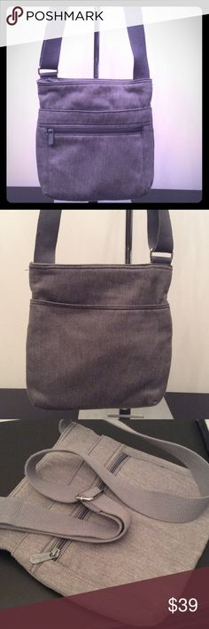 """❤GREY THIRTY-ONE CROSSBODY BAG GREY CROSSBODY BAG WITH A ZIP CLOSURE. FRONT HAS LARGE ZIP POCKET AND OPEN POCKET BEHIND IT AND BACK HAS A LARGE OPEN POCKET. INSIDE HAS A LARGE ZIP POCKET AND TWO OTHER POCKETS. 11""""X11"""" AND STRAP IS 54"""" PERFECT CONDITION. SILVER HARDWARE. thirty one Bags Crossbody Bags"""