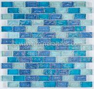 Iridescent Glass Mosaic Tile Pale Blue Blend 1x2