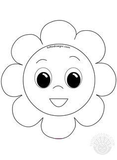 Maschera a forma di fiore da colorare - TuttoDisegni.com Flower Template, Hello Kitty, Templates, Flowers, Fictional Characters, Art, Art Background, Stencils, Florals