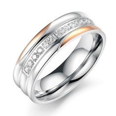 Stainless Steel Ring for Women Channel CZ Anniversary Bands,6MM Rose Gold