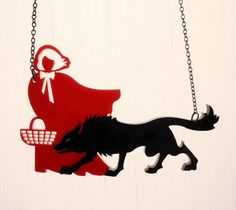Little Red Riding Hood Necklace - Black Red Acrylic - Laser Cut Necklace Red Riding Hood Wolf, Little Red Riding, Charles Perrault, Wolf Silhouette, Laser Cut Jewelry, Wolf Design, Jewelry Cleaning Cloth, Big Bad Wolf, Red Hood