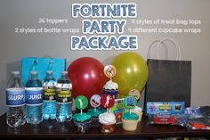 If youre having a Fortnite party, youve found the right package! All items in this package can be printed after purchase. You can print them at a store, online, or even at home on photo paper. Here is what you get: 4 different treat bag toppers (they fit a sandwich-size bag and