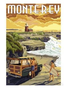 Monterey, California - Woody on Beach Posters at AllPosters.com Santa Cruz California, Monterey California, Vintage California, California Coast, Oregon Coast, California Travel, Monterey Bay, Cayucos California, Orange California