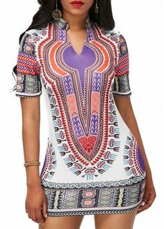 Slit Neck Short Sleeve Dashiki Mini Dress
