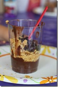 anthills {aka chocolate pudding and crushed graham crackers} and the kids added chocolate covered raisins for the queen ants and mini chocolate chips for the worker ants