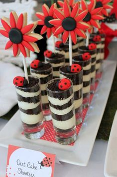 Ladybug party - dirt cake shooters with flower cookie pops Dirt Cake, Mud Cake, Dessert Party, Snacks Für Party, Dirt Dessert, Dessert Ideas, Party Favors, Snacks Kids, Birthday Fun