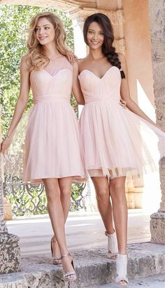 sexy short blush bridesmaid dress with tulle overlay