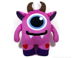 Hi, I am a friendly Monster Plush Toy. I am coming in three sizes: - big size - about 18x12,5 inches (45x31cm), - medium size - about 14x10 inches (35x25 cm), - small size - about 10x7,5 inches (24x19cm).  I am made of very soft and cuddly minku fleece and organic felt and stuffed with super soft nonallergic polyfill.  I am suitable for babies - my face is carefully hand embroidered and there are no small plastic or metal parts and I am coming from a smoke free home.  I am washable, be…