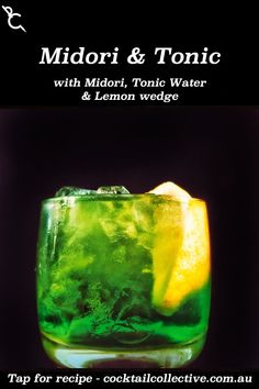 Midori & Tonic Water means you can toss your G&T aside for something far more vibrant with Midori, Tonic Water & a Lemon wedge garnish. Midori Cocktails, Lemon Wedge, Tonic Water, Vibrant, Canning, Recipes, Recipies, Ripped Recipes, Home Canning