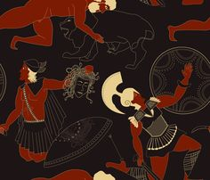 A pattern with three heroes of Greek mythology. Hercules and Perseus, who were sons of Zeus. Achilles was king of the Myrmidons and the hero of Homer's Iliada.