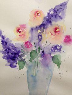 Aquarell Blumenstrauß 30 x 40 cm Blumen