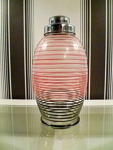 ORIGINAL VINTAGE 1950's GLASS & CHROME COCKTAIL SHAKER - RETRO BAR ACCESSORY