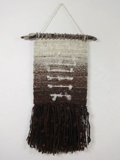 Natural Gradient Hand Woven Wall Hanging from by YarnOnSticks