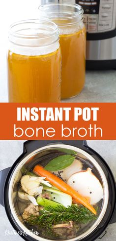 How to make Instant Pot Bone Broth or Chicken Stock. With just a few simple ingredients you can make this easy homemade chicken bone broth recipe in your pressure cooker. Use your homemade bone broth in soups or sip it as a nourishing beverage. Chicken Bone Broth Recipe, Make Chicken Broth, Chicken Broth Recipes, Homemade Chicken Stock, Soup Recipes, Healthy Recipes, Chicken Stock Recipe From Bones, Dinner Recipes, Chicken Bone Broth Benefits