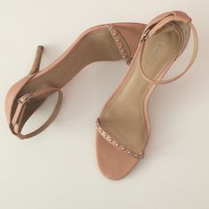 Nude studded strappy sandals. Nude Color. Silver studded. 4 inches. LOFT Shoes Sandals