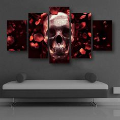5 Panels Rose Skull Printed Canvas Wall Art    https://www.skullflow.com/collections/wall-arts/products/5-panels-rose-skull-printed-canvas-wall-art