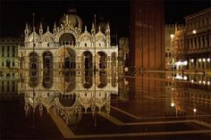 Quiet night in Venice's San Marco Square during aqua alta (high water)