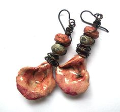 Rustic Ceramic Earrings Pink Black Rose Petals & by SheFliesAgain