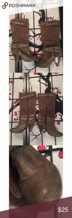 Fergie Brown Slouchy Heeled Boots Size 9 Fergie slouchy boots. They do have signs of minimal wear but are still in great condition! Perfect for the fall season! 🍁🍂 Measurements - Around the calf 15in / From top to heel 16 1/2in / Heel is about 3in. Fergalicious Shoes Heeled Boots