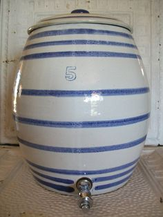 Antique Pottery | vintage antique rare cobalt blue striped salt glazed kitchen stoneware ...