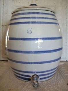 Cobalt Blue Striped Salt Glazed Crock