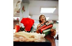 1960's christmas fashion photos | 1950's (or 1960's) photo of Christmas Shopping at Department Store in ...
