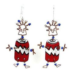 This handmade novelty pair of dancing girl earrings features a playful soda can design made from recycled tin can and copper wire, accented with colorful Maasai beads. Earrings hang approximately. Girls Earrings, Unique Earrings, Earrings Handmade, Fair Trade Jewelry, Recycled Jewelry, Girl Dancing, Handcrafted Jewelry, Gifts For Her, Soda