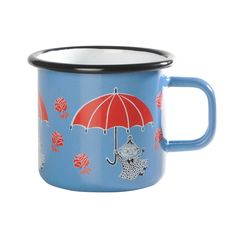 Blue enamel mug featuring Little My in red coloring. Brighten your coffee- and teamoments with this mug. Muurla combines design with durability in this retro Moomin enamel mug. Moomin Shop, Moomin Mugs, Best Camping Gear, Little My, Coffee Cups, Give It To Me, Porcelain, Enamel, Retro
