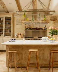 Kelly Harmon~love the cool marble against the old reclaimed wood on island!