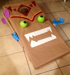 Used a cornhole board covered in brown mailing paper to make a Double Trouble bean bag toss game for a #skylanders birthday party