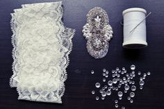 DIY Wedding Garter - stretchy lace, bead appliqué and a little bit of sewing