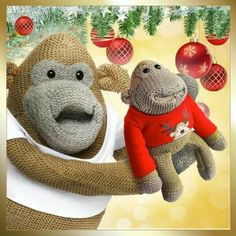 PG Tips Monkey x Cuddles And Snuggles, Cuddling, Pg Tips, Dinosaur Stuffed Animal, Dolls, Cool Stuff, Monkeys, Lovely Things, Brain
