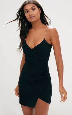 The Black Diamante Strap Ruched Asymmetric Dress. Head online and shop this season's range of dresses at PrettyLittleThing. Semi Dresses, Hoco Dresses, Pretty Dresses, Homecoming Dresses, Prom Dress Shopping, Online Dress Shopping, One Step, Slimming World, Ladies Dress Design