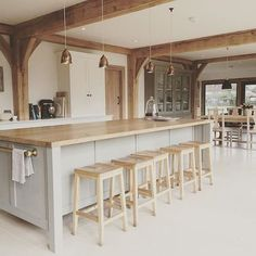 If your kitchen has a lot of exposed wood in it, think about counteracting it with light greys and whites that lighten it up Barn Kitchen, Kitchen Family Rooms, Open Plan Kitchen, Living Room Kitchen, Country Kitchen, New Kitchen, Küchen Design, House Design, Barn Conversion Interiors