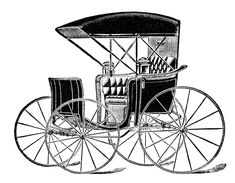 horse drawn carriage clip art, vintage transportation image, black and white buggy clipart, antique magazine advertisement, free digital carriage graphics