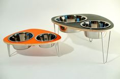 Raised Dog Bowls double stainless steel bowls and by ModPet, $56.00