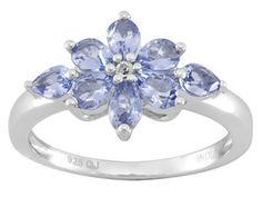 1.12ctw Pear Shape Tanzanite With .02ctw Round White Topaz Sterling Silver Ring