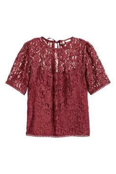 Shop for H&M Lace Top on Glam O' Sphere Boutique. Get the best price on H&M Lace Top in Nigeria. Red Lace Top, Red Short Sleeve Tops, Lacy Tops, V Neck Tops, Cool Outfits, Tunic Tops, Clothes, Lace Blouses, Burgundy