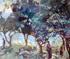 huariqueje: Mediterranean Scene with Olive Trees and Figures by the Sea - Duncan Grant British Bloomsbury Group Duncan Grant, Dora Carrington, Vanessa Bell, Paintings I Love, Your Paintings, Landscape Art, Landscape Paintings, Pastel Landscape, Illustrations