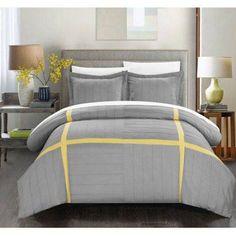 7-Piece Delphia Pleated Patchwork Color Block Duvet Cover, Gray