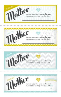 Service Coupon Books for Mom!  Write in what the coupon is good for.