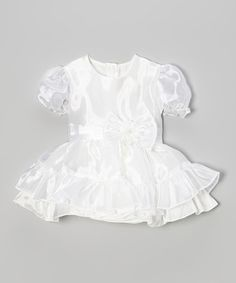 Take a look at this White Bow Pouf-Sleeve Dress - Toddler & Girls by S Square on #zulily today!