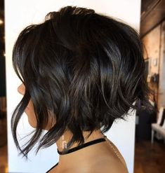 70 Best A-Line Bob Hairstyles Screaming with Class and Style Wavy Brunette Bob with Surface Layers A Line Haircut Short, Black Haircut Styles, Short Hair Styles, Inverted Bob Haircuts, Bob Haircuts For Women, Short Bob Haircuts, Haircut Bob, Aline Bob Haircuts, Uneven Haircut